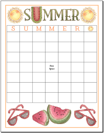 Summer Bingo Board with 49 Squares