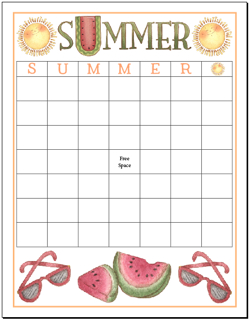 FREE Customizable Summer Bingo Board with 49 squares