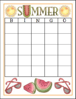 Summer Bingo Board with 25 Squares