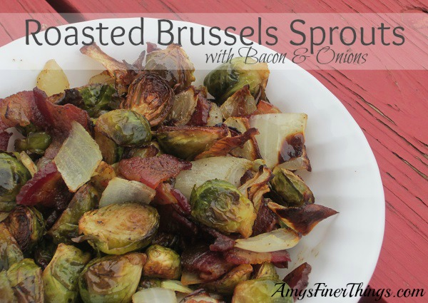 Roasted Brussels Sprouts with Bacon and Onions