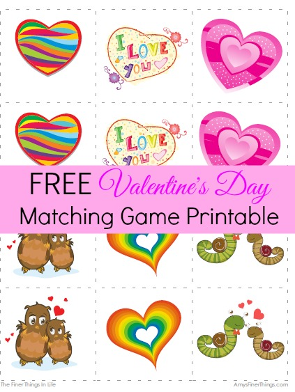 photograph relating to Printable Memory Game named Totally free Valentines Working day Matching Video game Printable - The Finer