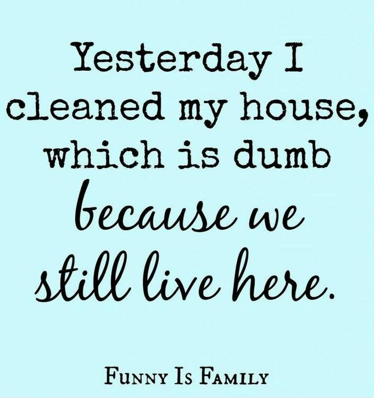 I cleaned my house.