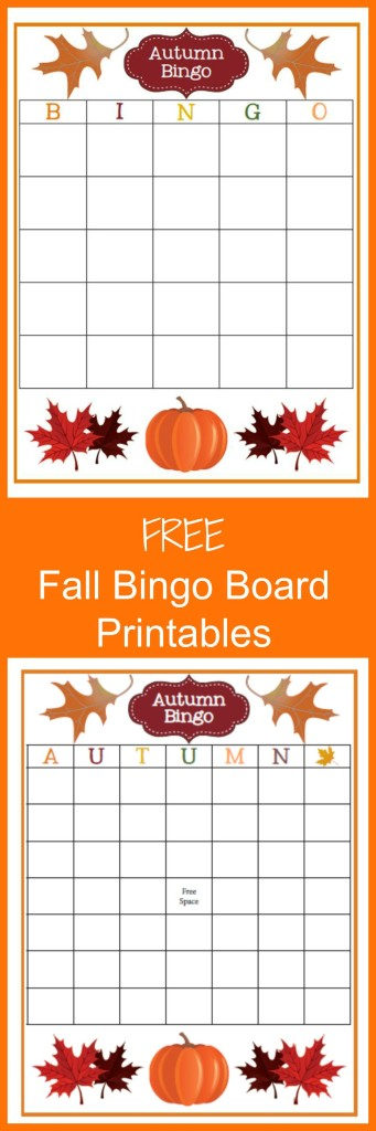 Free Fall Bingo Board Printables
